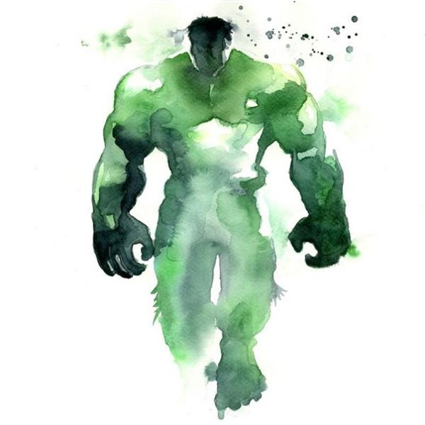 superhero-watercolor-art-the-hulk
