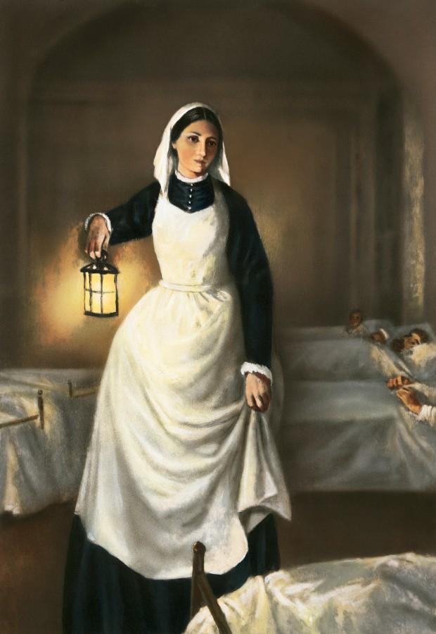 Illustration of Florence Nightingale Holding Lamp