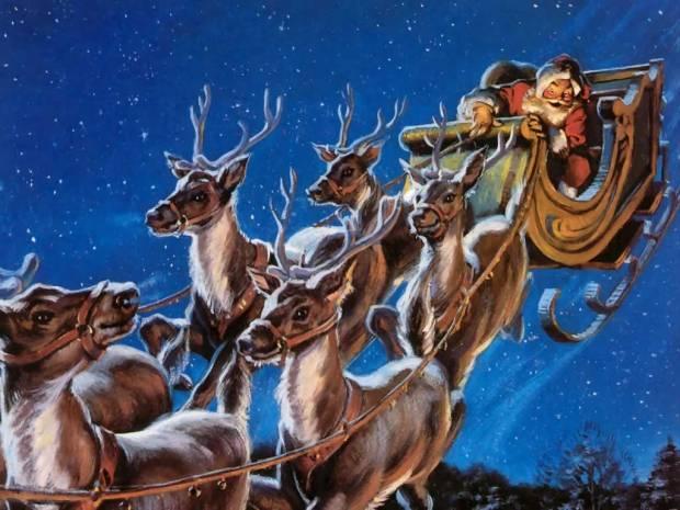 santa-and-reindeers-wallpaper