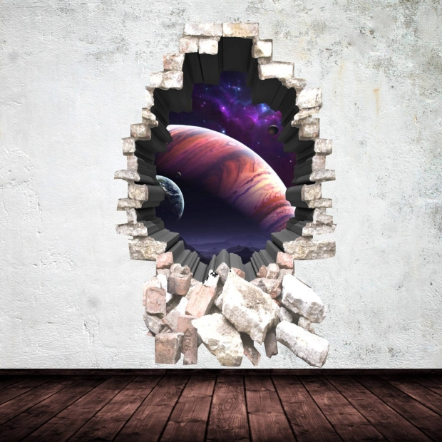 3D Deep Space Planets Wall Art Sticker Boy Decal Mural Graphic intended for Most Recently Released 3D Brick Wall Art