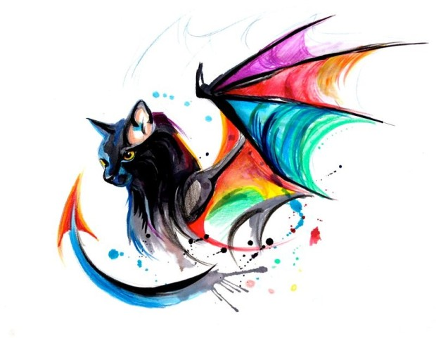 good_black_cat_with_dragon_rainbow_wings_and_tail_tattoo_design