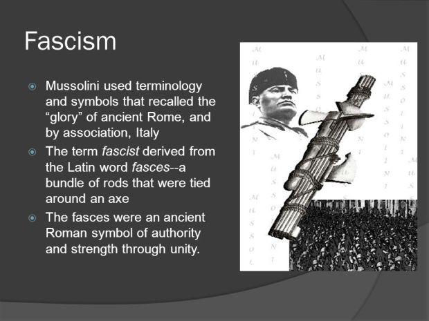 fascismmussoliniusedterminologyandsymbolsthatrecalledthegloryofancientromeandbyassociationitaly.